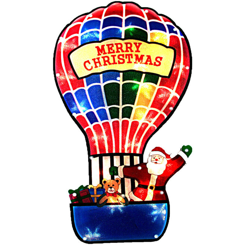 Santa In Hot Air Balloon Silhouette