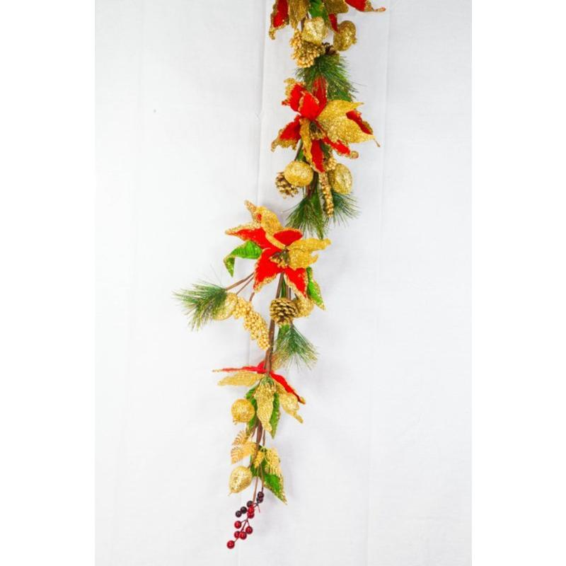 Majestic Poinsettia Garland 1.6m